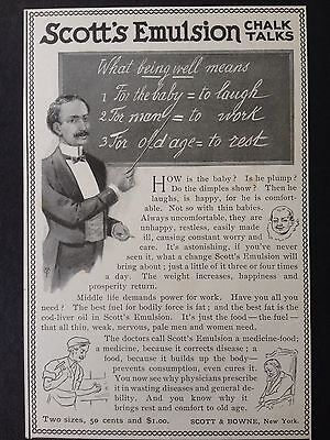 Antique 1898 Ad (1800-12)~Scott's Emulsion For Mental And Physical Health