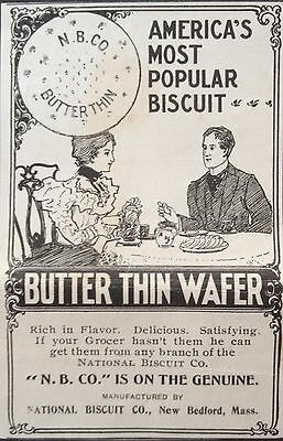 Antique 1898 Ad (1800-16)~National Biscuit Co. New Bedford, Mass. Butter Thin