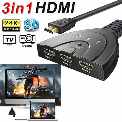 3 Port HDMI Switcher Switch Splitter Cable Hub HDTV LCD Xbox 4K*2K 2160P