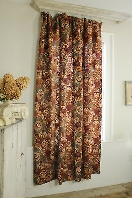 Curtain Antique French Belle Epoque design muted tones cotton old fabric