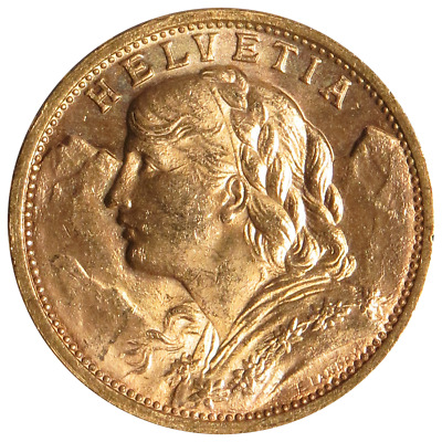 Swiss Gold 20 Francs Helvetia 0.1867 oz Random Year AU+