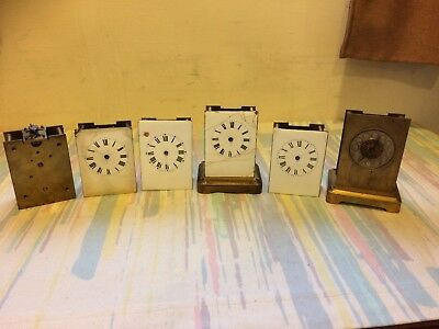 6 x Antique French 8 Day Carriage Clock Movements Job Lot For Spares Or Repair