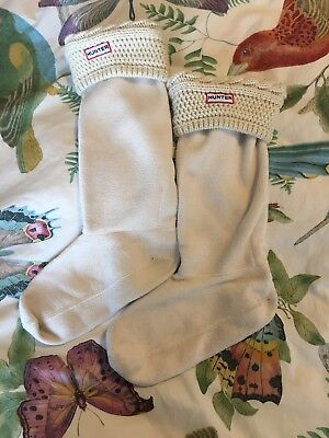 Hunter M/L Off White Fleece Welly Boot Socks foR Y'all Hunter Boots W Size 8-10