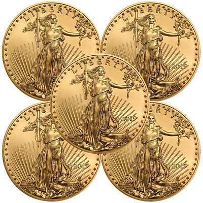 Lot of 5 - 2019 $10 American Gold Eagle 1/4 oz Brilliant Uncirculated