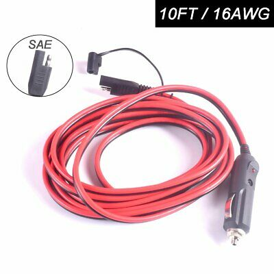 Car Cigarette Lighter Plug to SAE Quick Disconnect Adapter Extension Cable Wire