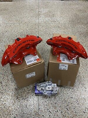 New GM 2015-19 Chevy Corvette Z06 Front Red Brembo 6 Piston Calipers + Pin Kit