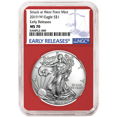 2019 (W) $1 American Silver Eagle NGC MS70 Blue ER Label Red Core