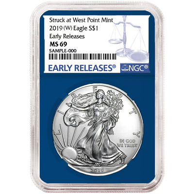 2019 (W) $1 American Silver Eagle NGC MS69 Blue ER Label Blue Core