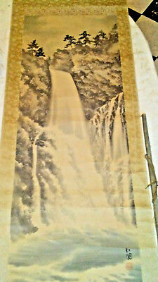 Antique Chinese Waterfall  scroll painting Qing Dynasty