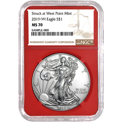 2019 (W) $1 American Silver Eagle NGC MS70 Brown Label Red Core