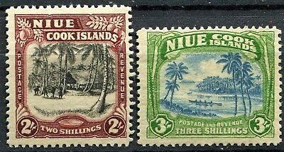 Nuie 1938 issue, SG 76 & 77, 2/- & 3/-, Mint Hinged, CV £47