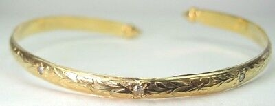 "Antique Art Deco 14K Yellow Gold Diamond Cuff Bracelet EGL USA Appraisal 7"" IC"