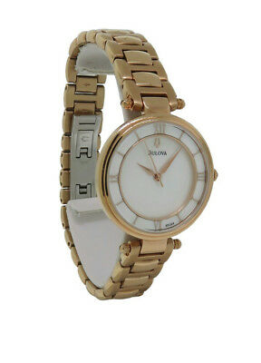 Bulova 97L124 Women's Round Mother of Pearl Analog Roman Numeral Watch
