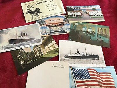Lot Of Vintage And Retro Vintage Postcards 7 In All and a queen mary coaster