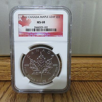 2012 Canadian Silver Maple Leaf NGC MS68 .9999 Fine Silver $5