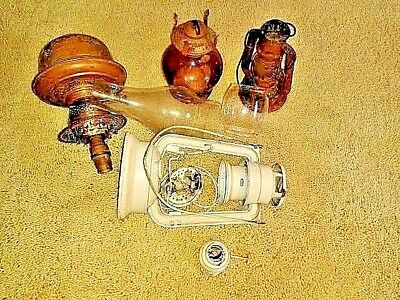 Antique Oil Lamps (3) With Various Bits And Pieces For Spares/repairs