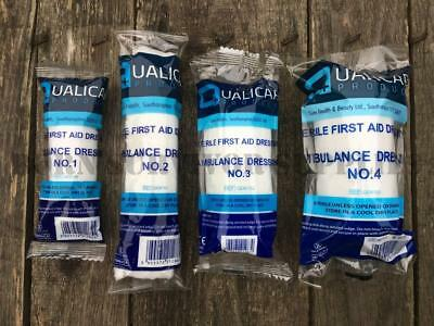 AMBULANCE DRESSING 4 PACK - First Aid Kit Bandage Trauma Plaster FFD No 1, 2, 3
