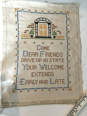 Antique Sampler Linen Embroidery Cross Stitch Vogue Needlepoint 1930's Complete
