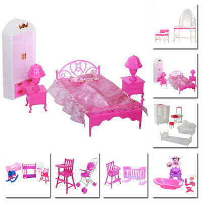 Lovely Furniture Kit Pink Plastic For Doll House Barbie Sindy Xmas Birthday New