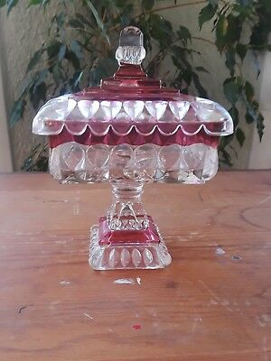 Beautiful Vintage Pink and Clear Cut Glass Footed Candy Dish w/Lid Shabby Chic