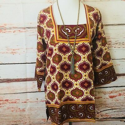 Kurta kurti Indian bollywood tunic Pakistani Top Crepe Silk New Med Printed
