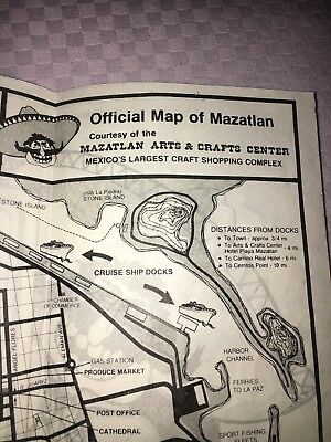 Official Map Of Mazatlan Mexico 1985 Arts And Craft Center High Divers Tourist