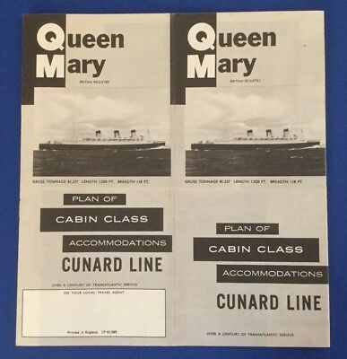 Queen Mary Plan Of Cabin Class Accomodations
