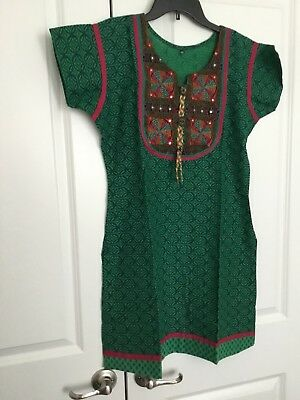 Indian Bollywood Kurta/ Kurti Women Ethnic Dress Top Pakistani With Earrings.