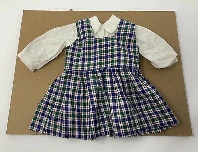 "Blue Green White Plaid School Shirt & Dress Outfit Fits 18"" American Girl Dolls"
