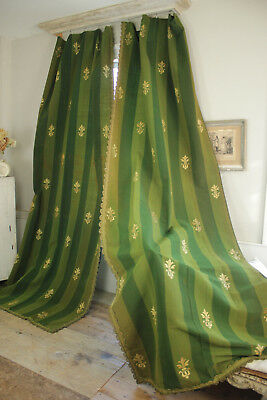 PAIR Antique CURTAINs 1880 Striped Wool Damask GREEN GOLD Fleur de Lis Drapes