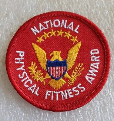 """NATIONAL PHYSICAL FITNESS AWARD Embroidered Patch 3"""" Red Presidential Seal NEW"""
