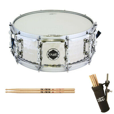 """Crush Drums Hand Hammered 14x6"""" Steel Snare Drum with a Pair of Sticks & Holder"""