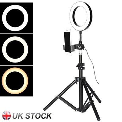 Portable LED Dimmable Studio Camera Ring Light Photo Phone Video Fill Lamp White