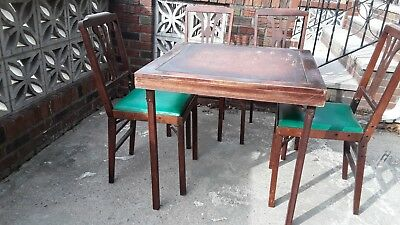 Vintage Leg-O-Matic Lorraine Table & 4 Folding Chairs For Airstream Tiny House