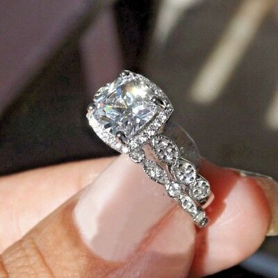 2.50Ct Cushion Cut Diamond Halo Bridal Set Engagement Ring 14k white Gold