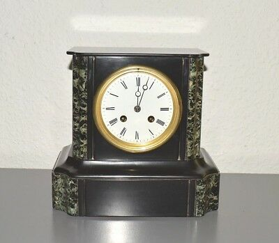 JAPY FRERES & CIE Antique slate and marble mantle clock. Made in France.