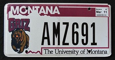 """MONTANA """" UNIVERSITY OF MT - WILDLIIFE GRIZZLY BEAR """" Specialty License Plate"""