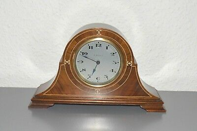 Antique 8 Days Edwardian Inlaid mantle clock. Swiss. Running.Platform escapement