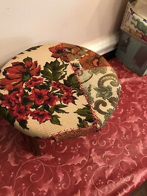 Vintage Mid Century Floral Patchwork Round Cushion Foot Stool Ottoman