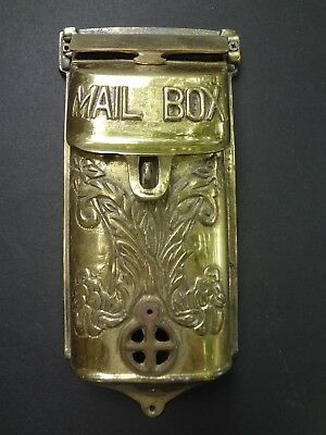 Old, Vintage, Heavy, Solid Brass Art Deco Era Ornamental Mail Box, Plant Relief.