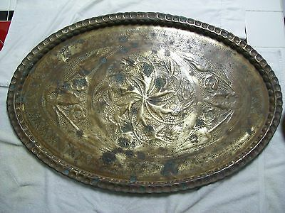"""Very Large 39""""x 26"""" Asian Antique Solid Brass Oval Tray Detailed Ornate Design"""