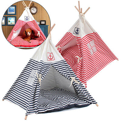 Folding Linen Pet Tent Dog House Bed Washable Puppy Cat Play Teepee Mat Portable