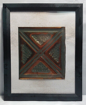 "Tin Ceiling Art Distressed Copper & Green Vintage Look Panel Framed 8""X10"" #644"