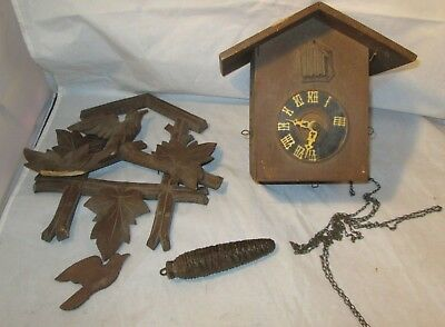 Cuckoo Clock Germany Black Forest Old Eduard Herr Sohne For Parts Or Repair