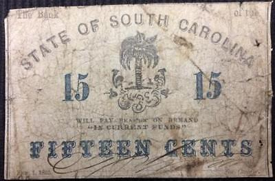 1863 State of South Carolina 15 Cents Better Grade Confederate Currency