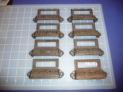 8 ANTIQUE CAST IRON DRAWER / BIN PULLS with LABEL HOLDERS. VINTAGE.