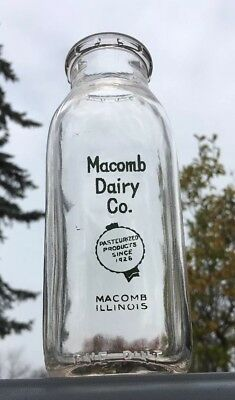 Green Pyro Macomb IL Illinois MACOMB DAIRY Square Pint Milk Bottle Clean LOOK