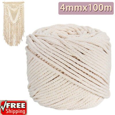 4mm Macrame Rope Natural Beige Cotton Twisted Cord Artisan Hand Craft 100M DM
