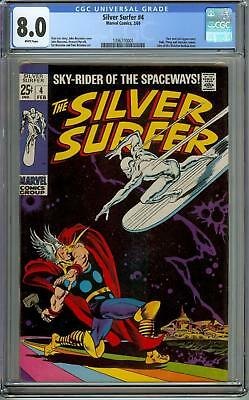 Silver Surfer #4 Cgc 8.0 Thor Battle 1969 White Pages