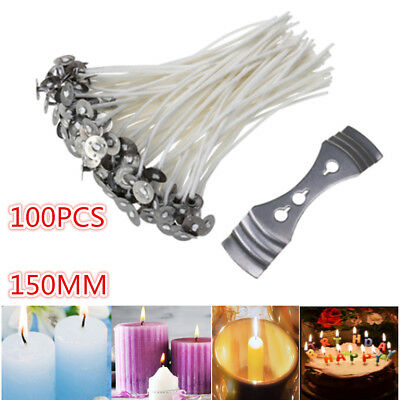 """100 x Candle Wicks 6"""" COTTON Core Candle Making Supplies Pretabbed+Wick Bracket"""